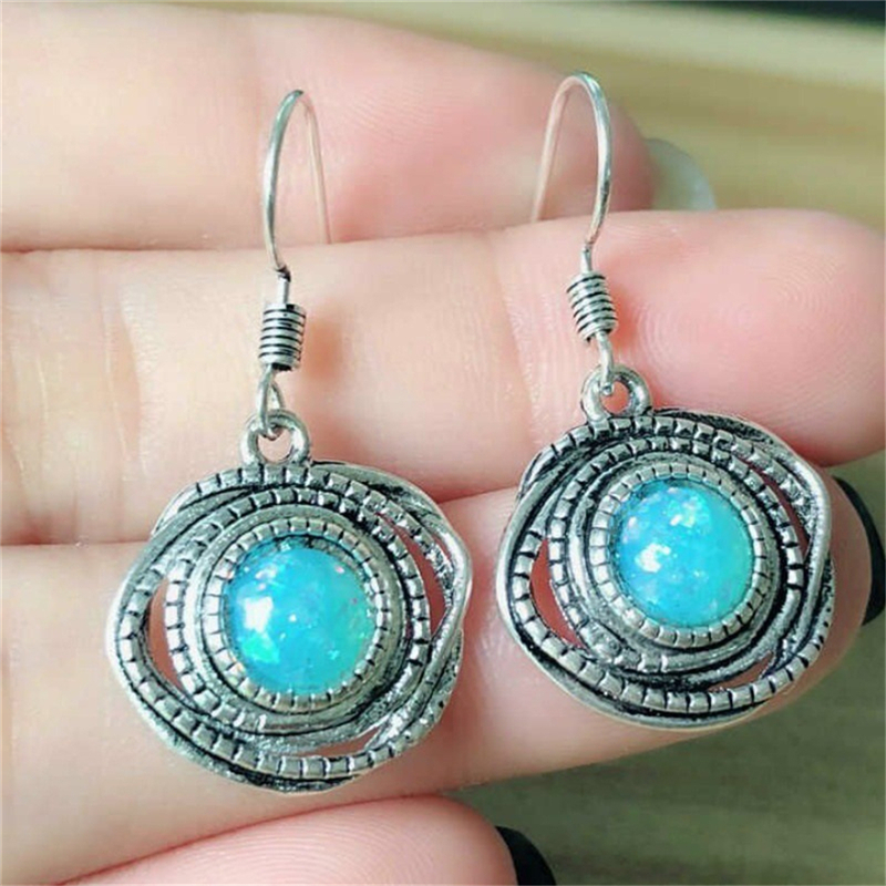 Turquoises Earrings Vintage Silver Jewelry Natural Stone Earrings Round Dangle Drop Earrings for Women C25