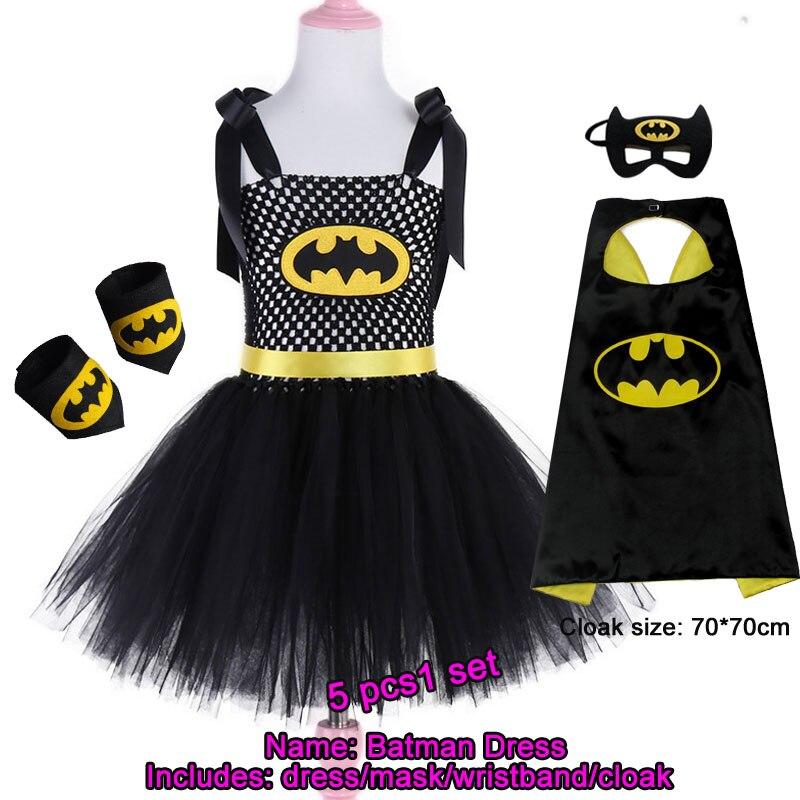 Girls Superhero Tutu Dress With Mask Handmade Batman Costume For Birthday Halloween Dress Up Little Batgirl Dress