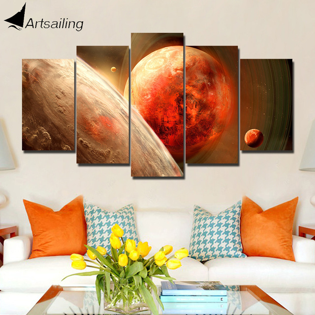 ArtSailing 5 Panel Wall Art On Canvas Red Planet Home Decoration Accessories Pictures For Bedroom Framed Poster NY 5765