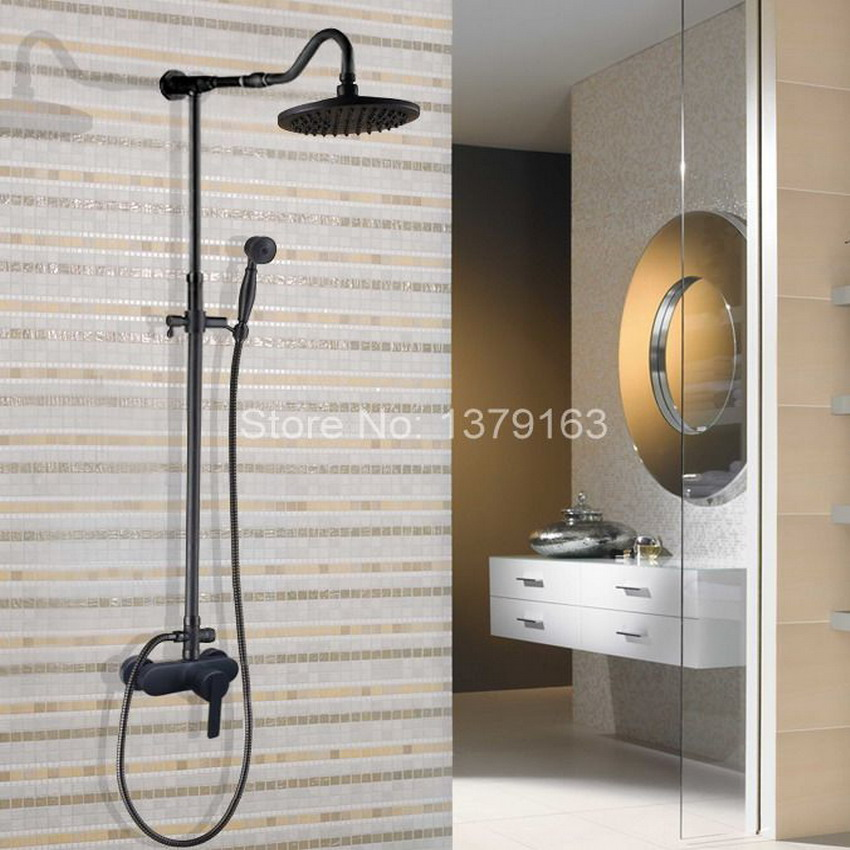 Black Oil Rubbed Brass Single Lever Wall Mount Bathroom Rainfall Shower Faucet Set Mixer tap Rain Shower Head Hand Shower ahg654