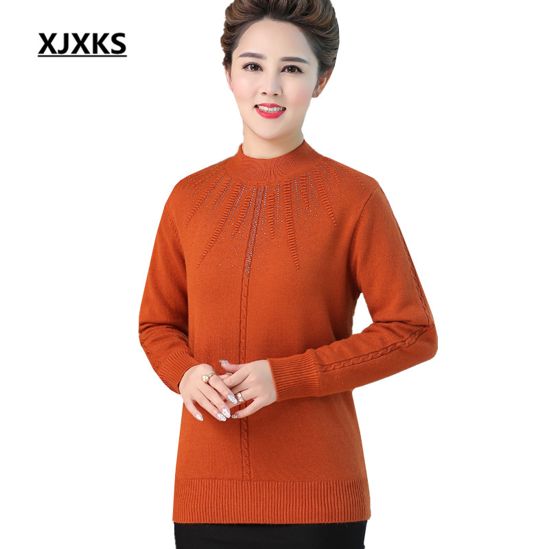 XJXKS Fashion diamond women's bottoming shirt winter 2019 new plus velvet thick warm women turtleneck sweater pullover