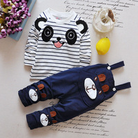 2016 New Spring Autumn Baby Boys And Girls Cotton Cartoon Striped T Shirt Overalls Two Sets