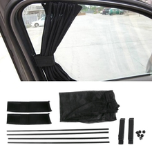 1 conjunto universal preto malha bloqueio vip janela do carro cortina pára sol viseira uv bloco