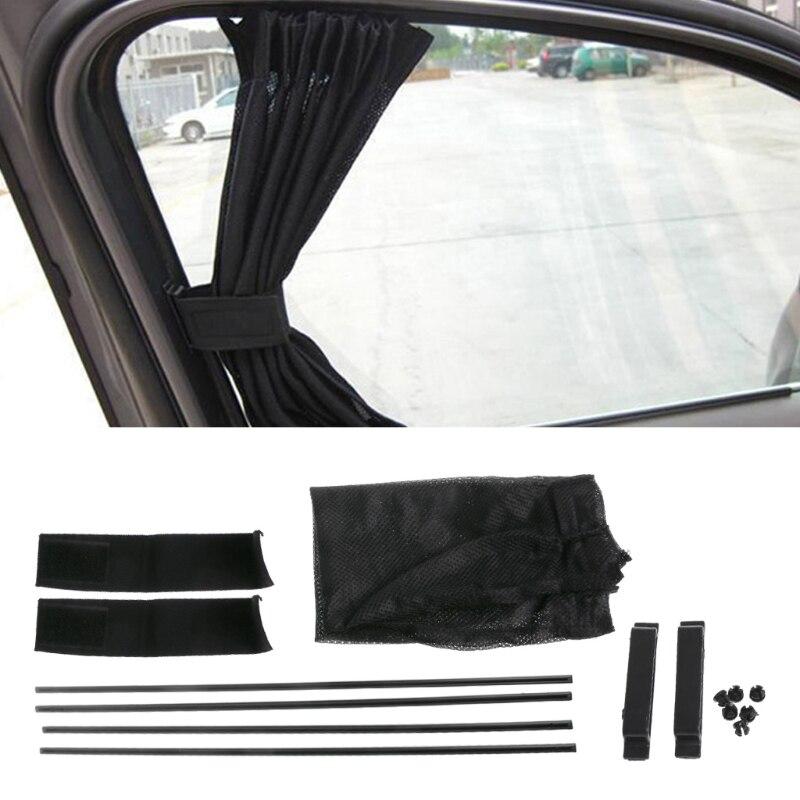 1Set Universal Black Mesh Interlock VIP Car Window Curtain Sunshade Visor UV Block