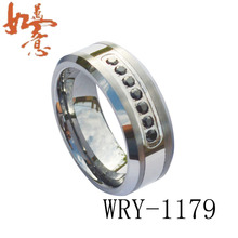 Free Shipping 8mm  Tungsten Carbide Ring with 7 pieces black CZ diamonds Inlay Wholesales Order are Welcome WRY-1179