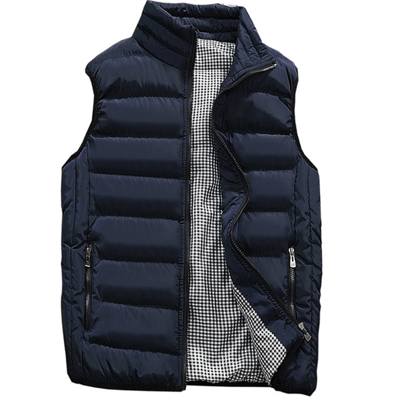 Brand Clothing Sleeveless Mens Vest Autumn Winter Casual Pocket Pure Color Waistcoat Vest Jacket Top Coat Chaleco Plumas Hombre