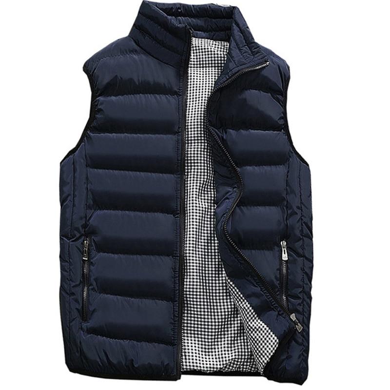 Brand Clothing Sleeveless Mens Vest Autumn Winter Casual Pocket Pure Color Waistcoat Vest Jacket Top Coat Chaleco Plumas Hombre