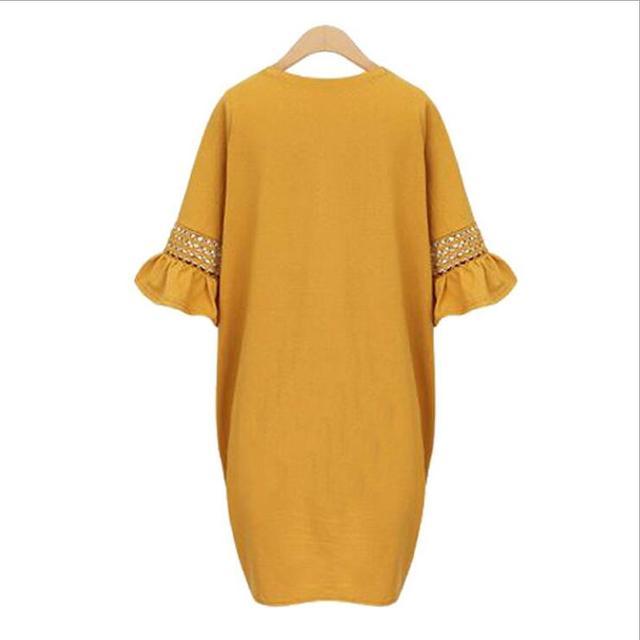 European Style Big Size Women Dress 2017 Summer Ruffles Sleeve Loose Dress M L XL XXL 3XL 4XL 5XL Plus Size Dress Black Mustard