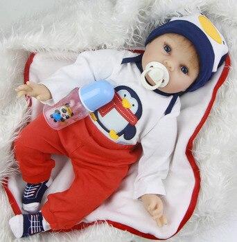 Bebes Reborn BOY doll 22 Inch 55CM Soft Silicone Vinyl reborn baby dolls Lifelike newborn Bebe alive Doll gift for child