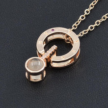 Round Shaped I LOVE YOU In 100 languages Projection Necklace For Memory Of LOVE choker collier