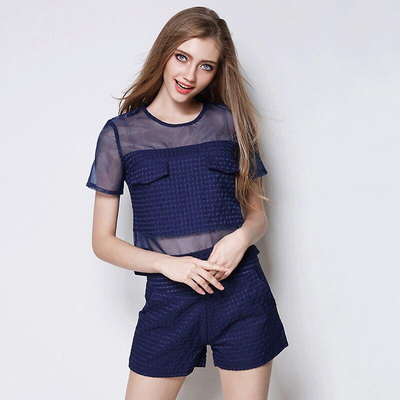 Pièces Crop Style Top Organza Bleu Femmes Amérique Et Short Mode Vêtements Blanc Europe 2 Ensemble Om345 Summer 2015 wPUaqyB71