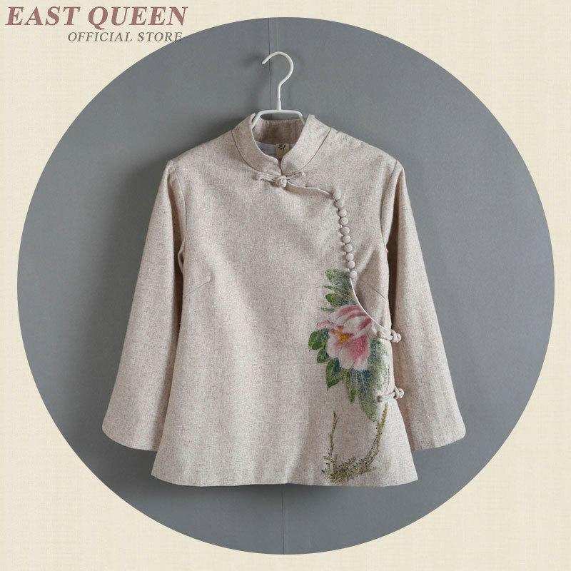 Chinese Shirt Women Traditional Chinese Clothing Linen Shirt Women Linen Clothes Mandarin Collar Cheongsam Top Shirt AA4155