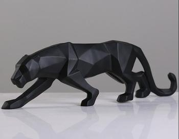 Modern Abstract Black Panther Sculpture Geometric Resin Leopard Statue Wildlife Decor Gift Craft Ornament Accessories Furnishing 1