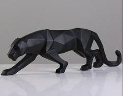 Современная Абстрактная Черная пантера скульптура Геометрическая Смола статуя леопарда дикой природы Декор подарок ремесло орнамент аксе...