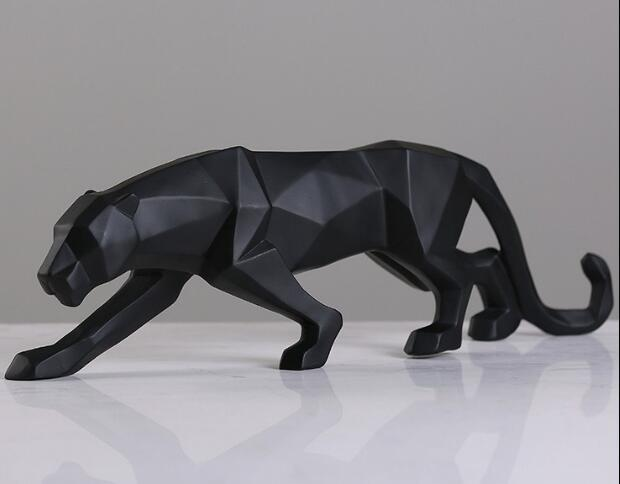 Modern Abstract Black Panther Sculpture Geometric Resin