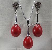 الجملة حار بيع>> جديد حجر قلادة القرط مجوهرات الزفاف تعيين المرأة الأحمر المرجانية