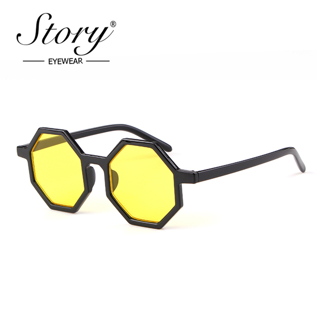 c379b8ec411e STORY 2018 Fashion Polygonal Sunglasses Women Vintage Retro Small Octagon  Frame Cat Eye Sun Glasses 90S Eyewear Female Shades