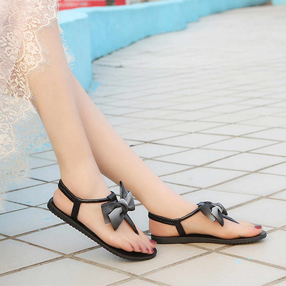 5f73b7829a YOUYEDIAN flat sandals Solid Color Bow Round Toe Flat Heel Sandals Rome  Shoes Beach Shoes 2019 yaz d z sandalet bayanlar #G30