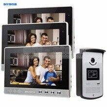 DIYSECUR 10 inch Video Door Phone Doorbell Home Security Video Intercom System RFID Camera Night Vision 1 Camera 3 monitors