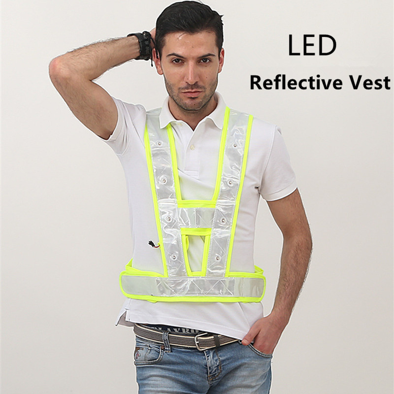 High Visibility LED Light Up Safety Reflective Vest Night Safety Warning Clothing Traffic led Safety Vest Reflective t shirt-in Safety Clothing from Security & Protection