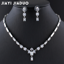 jiayijiaduo New Wedding Jewelry Set for Charming Women Dresses Accessories Green Necklace Earrings Set Zircon silver color
