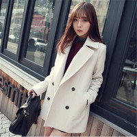 New winter han edition show thin paragraph woollen cloth coat grows in a double breasted coat female