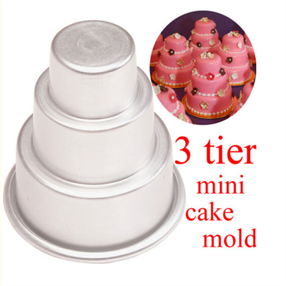 Mini 3 Tier Cake Pan Tins Cupcake Pudding Pizza Mould Cake Trays - Mini Wedding Cake Mold
