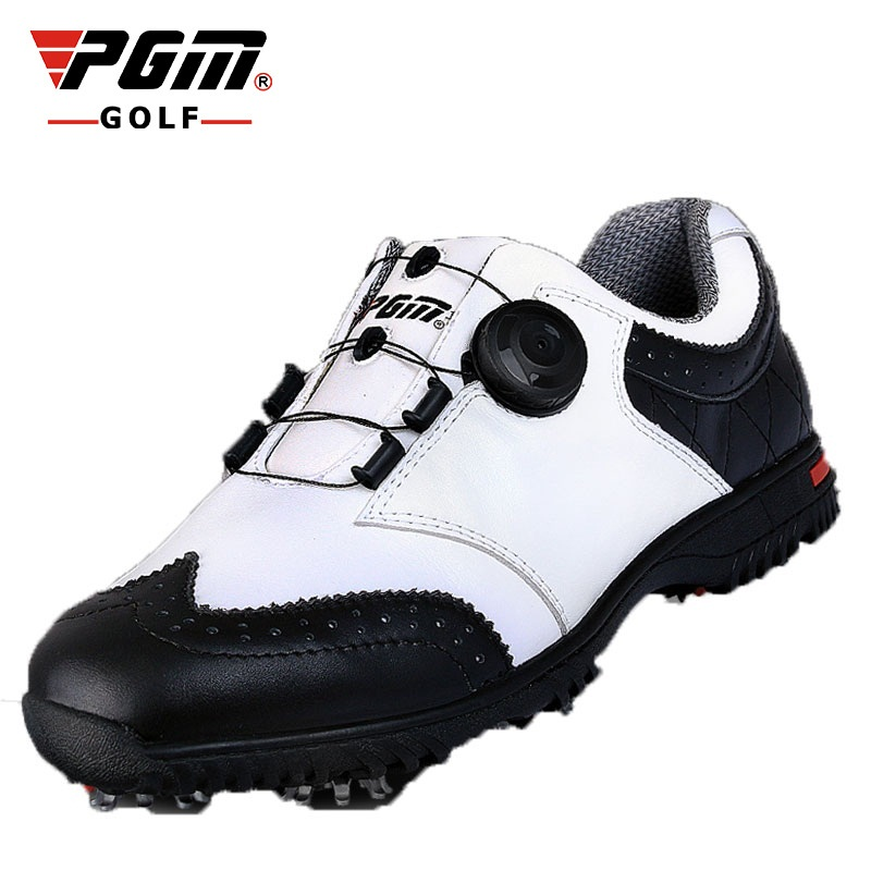 цена Pgm Golf Shoes Men Anti-Skid Sports Sneakers Spike Genuine Leather Golf Shoes Outdoor Lace Up Knobs Buckle Footwear AA51035