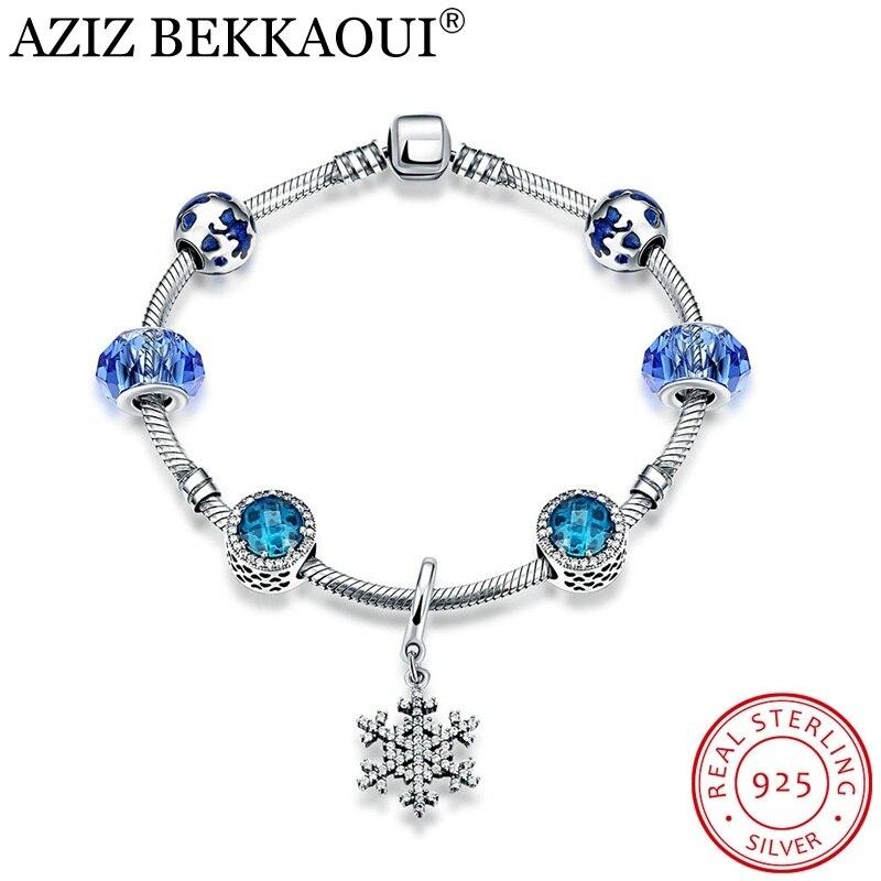 Blue Crystal Radiate Charm Bracelets for Women 925 Sterling Silver Murano Glass Beads European Original Screw Bracelet & Bangle blue original letter wide bangle