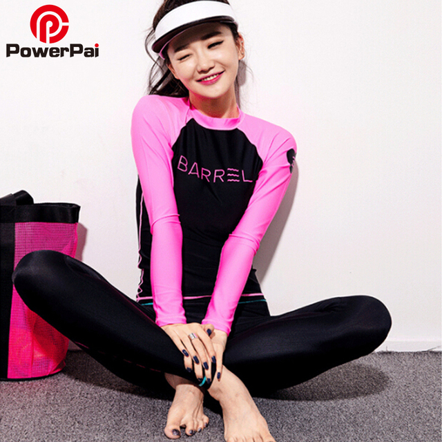 f0949112b4 PowerPai 2016 BARREL Korea Long Sleeve Diving Wetsuit Women Two Piece  Triathlon Scuba Surf Diving Suit Rashguard Top Pants