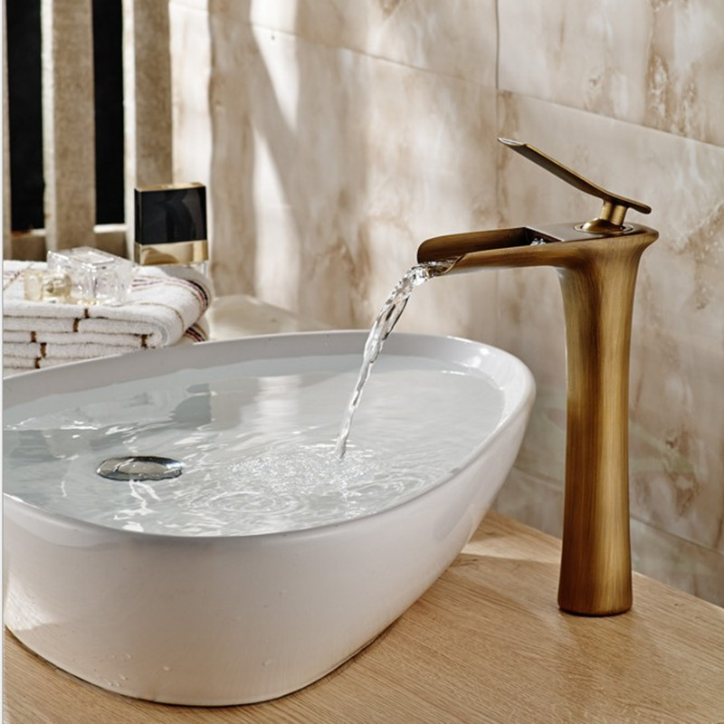 Livraison gratuite Promotion antique bassin robinet en laiton massif antique salle de bain cascade robinet, bas prix antique bassin évier robinet