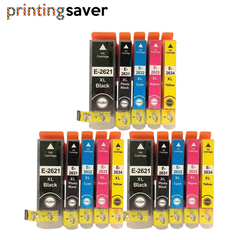15x Compatible 26XL Ink Cartridge Replacement for <font><b>Epson</b></font> T2621 T2631 - T2634 for <font><b>Epson</b></font> <font><b>XP</b></font>-510 <font><b>XP</b></font>-<font><b>610</b></font> <font><b>XP</b></font>-615 <font><b>XP</b></font>-710 <font><b>XP</b></font>-720 <font><b>XP</b></font>-820 image