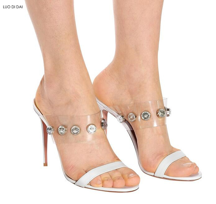 e7a038cfb33a37 D'été Sandales Chaussures Bout Femmes Blanc Ouvert Diamant Nouveau Soirée  Cristal Spartiates À Hauts Mariage Pvc Talons ...