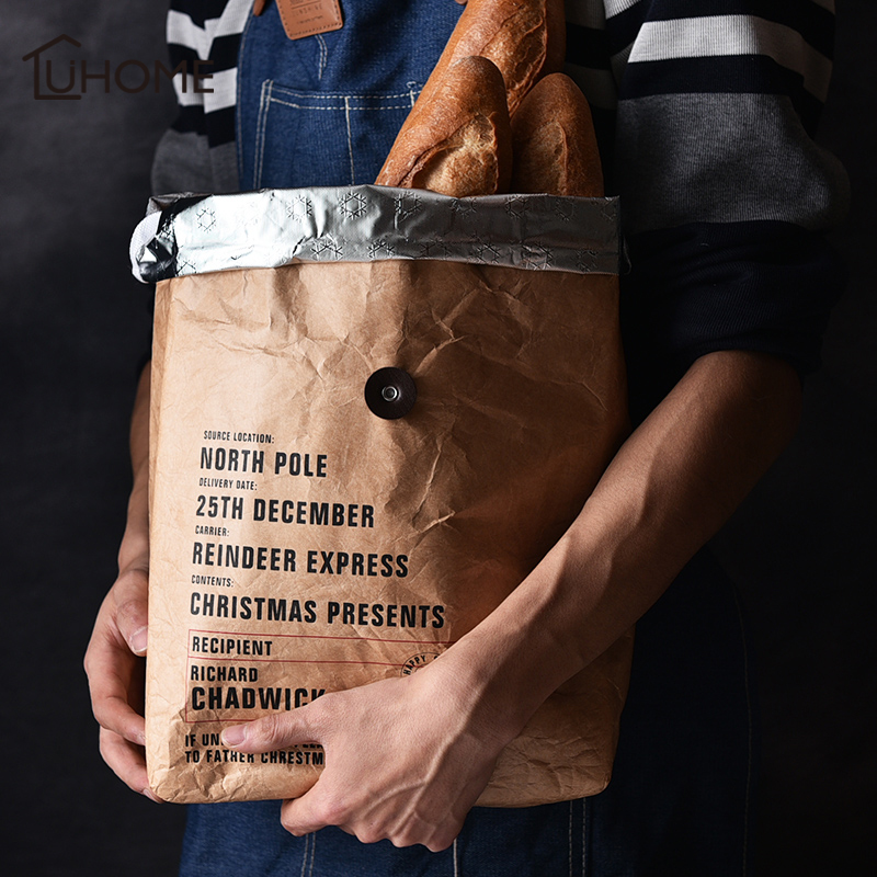 24x12x38cm Black Brown Durable DuPont Paper Lunch font b Bag b font Coffee Bread Storage Insulated