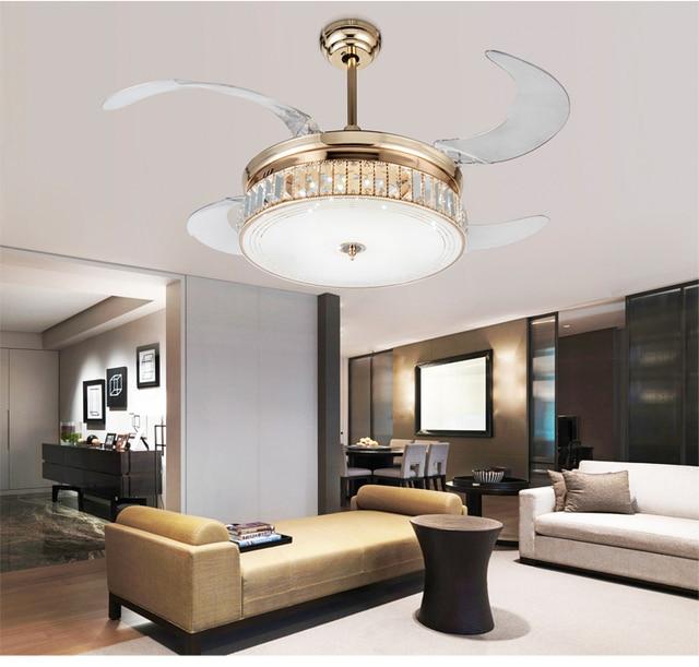 € 340.19 |Llevó atenuación luces ventilador de techo cristal plegable  retráctil moderno simple salón dormitorio comedor ventilador de techo ...
