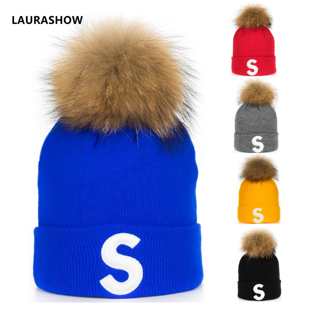 LAURASHOW Hat Warm Real-Raccoon-Fur Ball Pom-Poms Hip-Hop-Cap Wool Beanie Knitted Girl