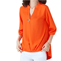 Casual Brief Women Blusa Chiffon V Neck Irregular Blouse Large Size Women Blouses 5xl 4 Colors