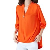 Casual Brief Women Blusa Chiffon V Neck Irregular Blouse Large Size Women Blouses 5xl 4 Colors