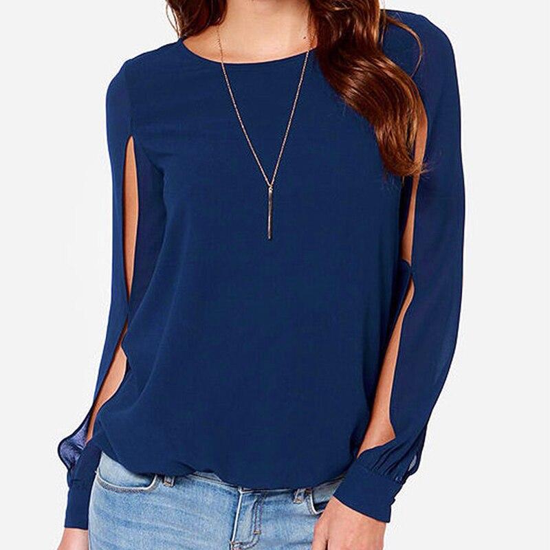 Womens Long Sleeve Chiffon Tops Shirt Casual Loose Slit Sleeve Back Hole Chiffon Shirt O-Neck Summer Shirts Blouse