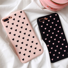 Cyato Pink Love Heart Simple Couple Pattern Case for iphone 7 case Soft Matte TPU Lovely Cover 6 6s 8 Plus capa