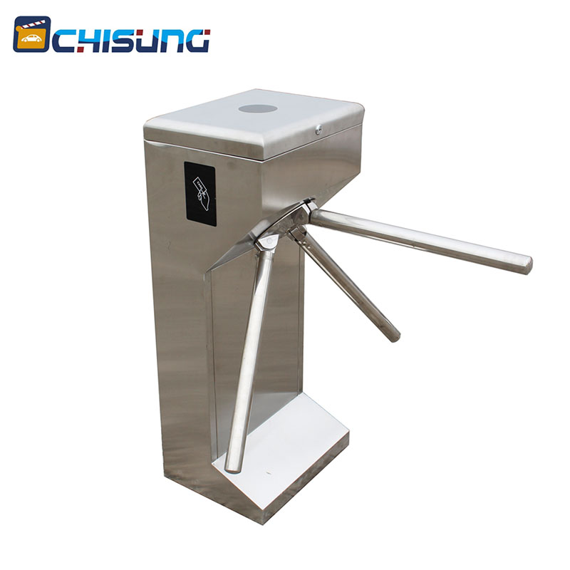 Factory high class Rfid access control full automatic tripod turnstile gate with DC Motor without noise access control system factory price vertical semi automatic tripod turnstile gate