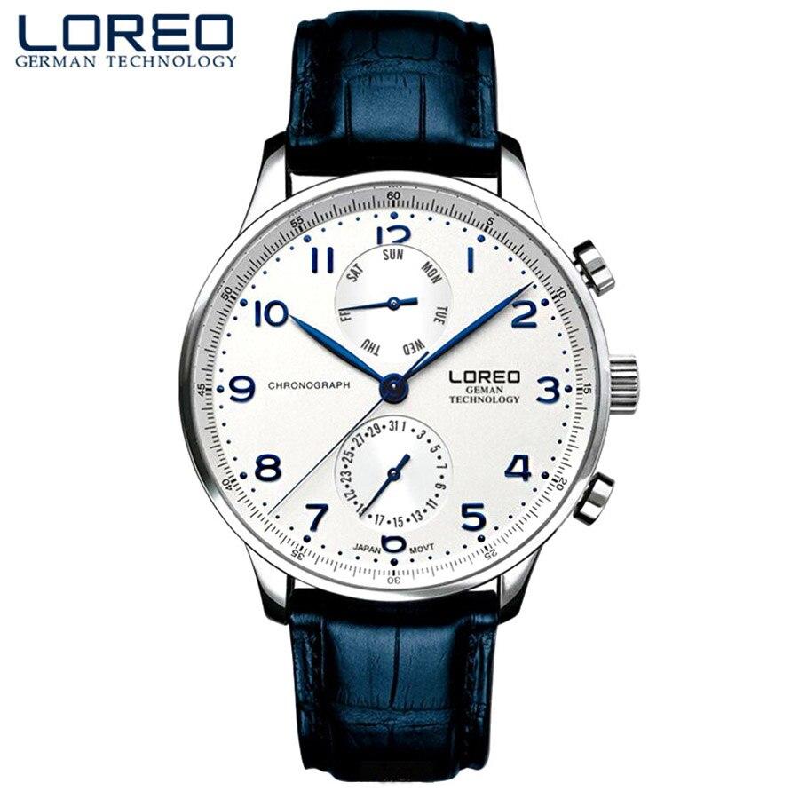 LOREO montres pour hommes Top marque de luxe Date mains en cuir véritable 50 M étanche horloge homme Quartz montres hommes montre de mode 2019