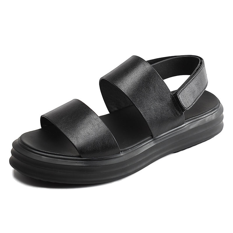 2018new Summer Leather Men Sandals Black Simple Gladiator Men Shoes Thick bottom Increase Beach Shoes Man Sandals flip flop male