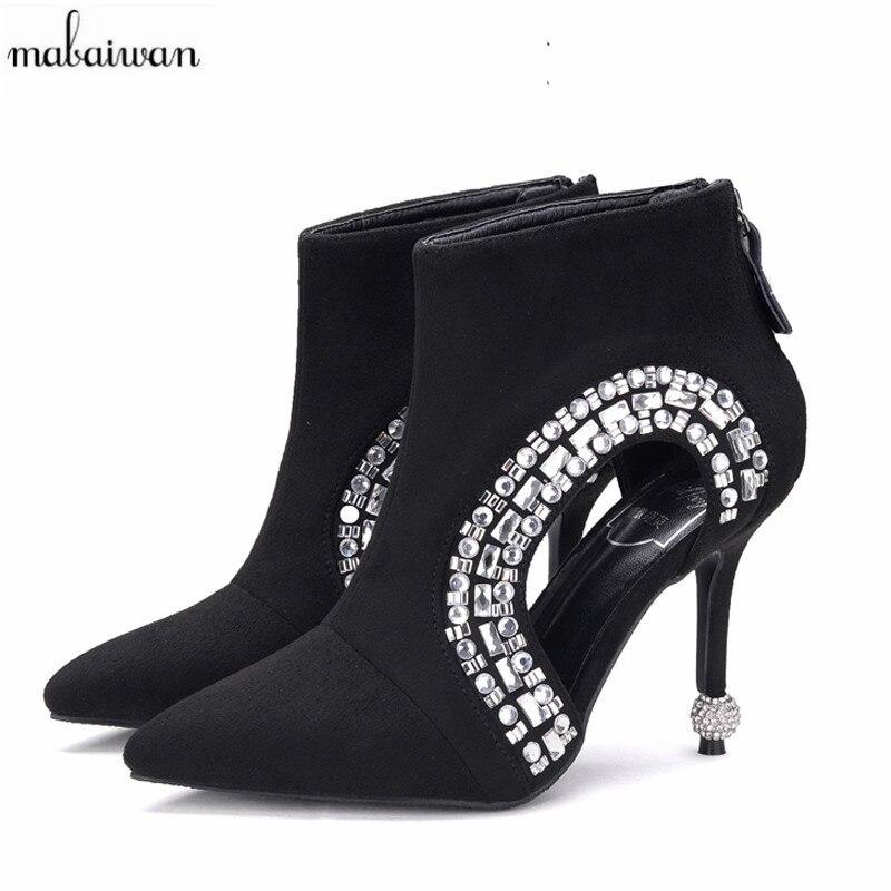 все цены на Mabaiwan New Black Pointed Toe Women Ankle Boots Hollow Out Rhinestone Summer Boots Strange High Heels Bota Feminina Women Pumps онлайн