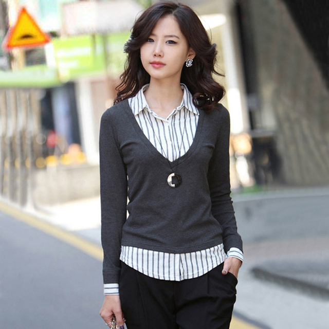 2017 Autumn And Winter Sweater Plus Size Women Shirt Collar Knitted