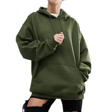Plus Size 5XL Army Green pocket Effen Kleur Pocket hooded Hoodie Vrouwen Lange Mouwen Hoodies Sweatshirt Casual Kapmantel WDC975(China)
