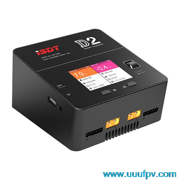 New Arrival ISDT D2 200W 20A AC Dual Channel Output Smart Battery Balance Charger original isdt d2 200w 20a ac dual channel output smart battery balance charger for rc multicopter model