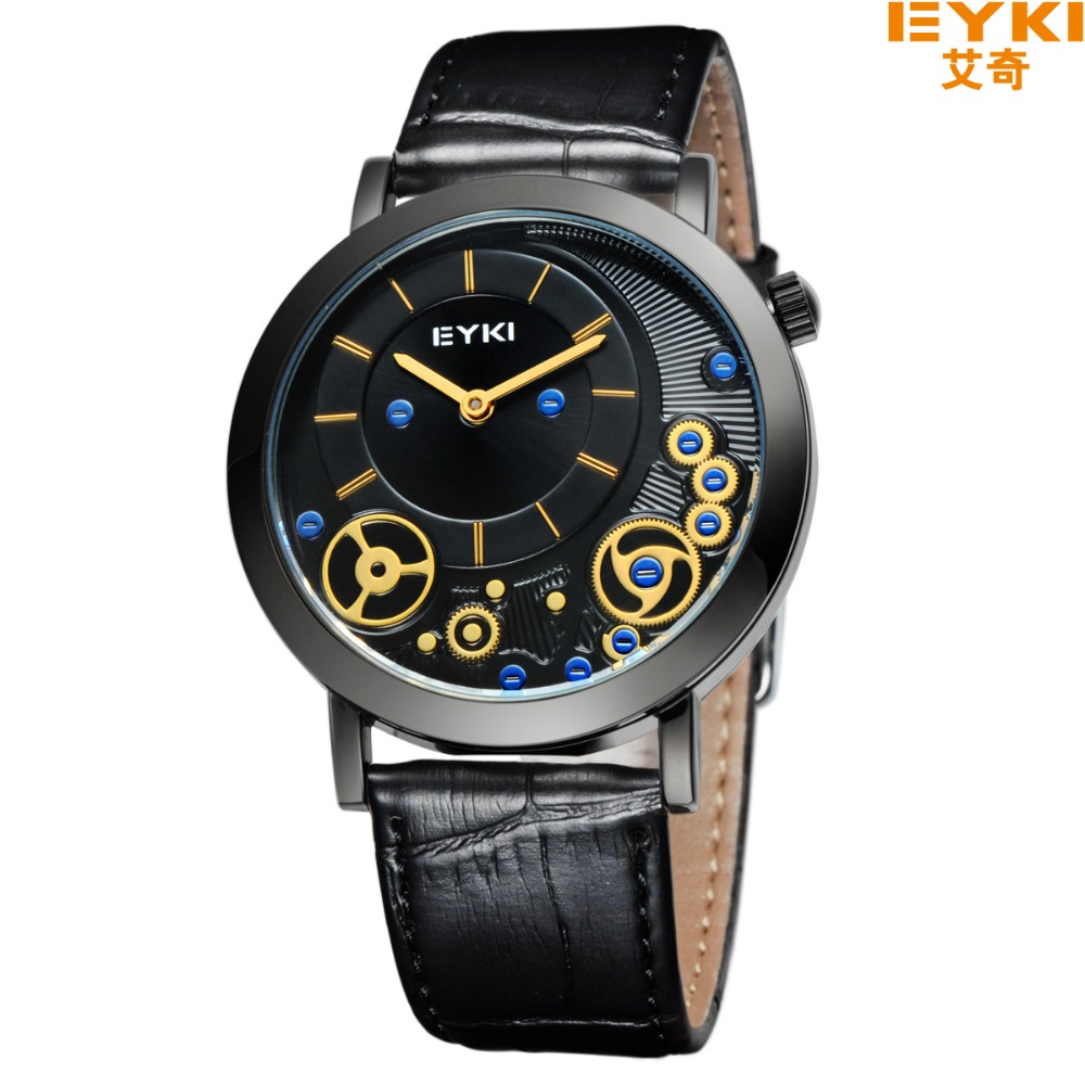luxury brand eyki men casual watches women leather strap. Black Bedroom Furniture Sets. Home Design Ideas