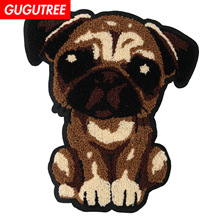 GUGUTREE towel embroidery big dogs patches animal badges applique for clothing JW-83