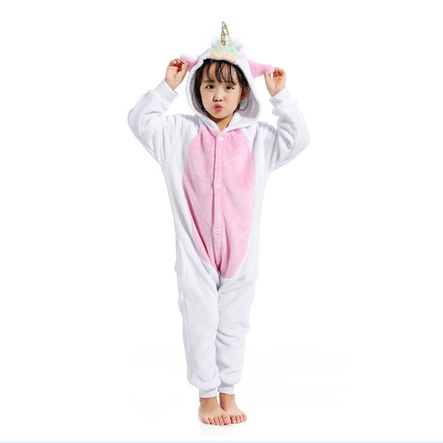 2018 Xmas Gift Children Unisex Unicorn Onesie Animal Pajamas Kigurumi Boys Girls Halloween Costumes Kids Winter Warm Flannel